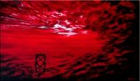 San Francisco Bay Bridge Bathed in Red Fog
