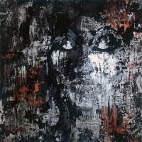 Silver Black Copper Abstract Portrait